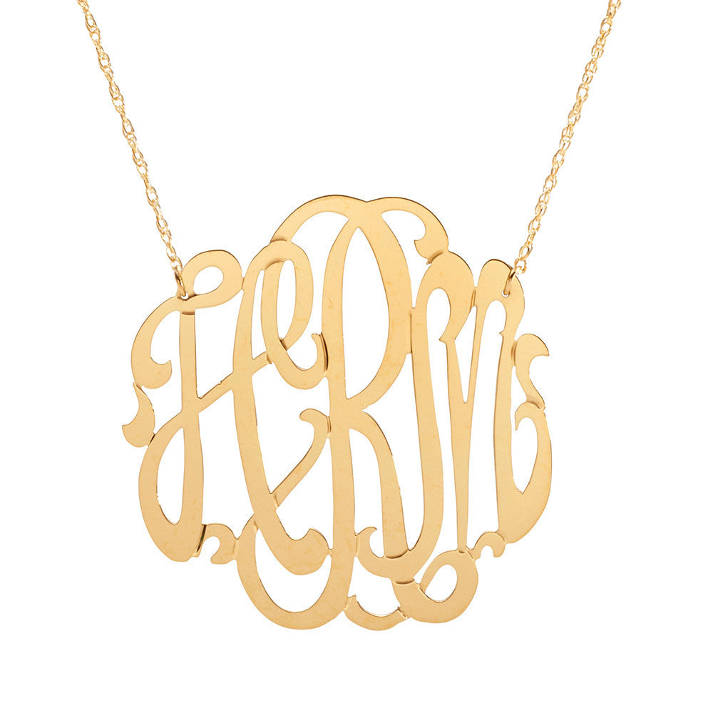 moon and lola metal script monogram necklace