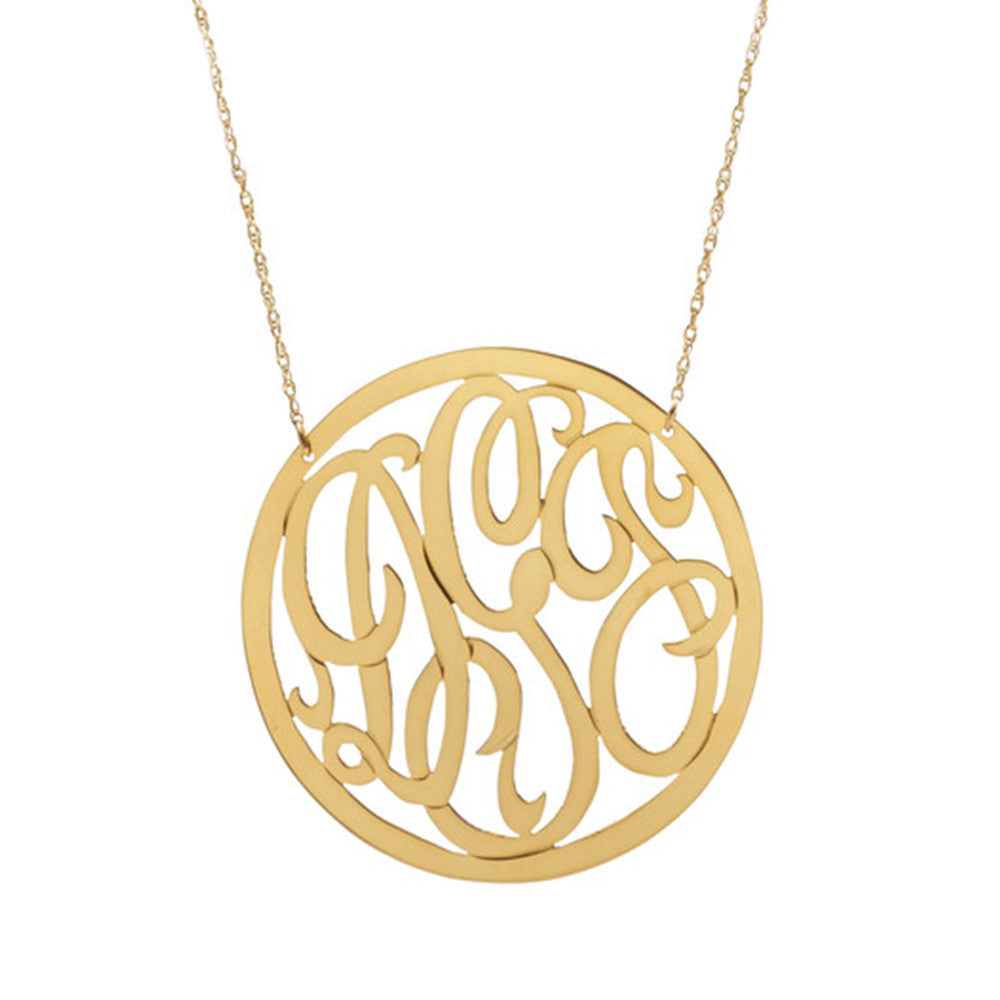 Moon & Lola Rimmed Script Necklace