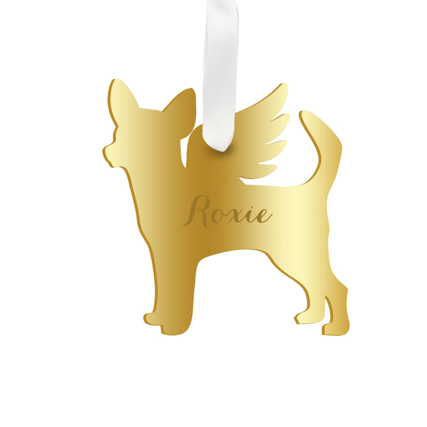 Moon and Lola - Personalized Angel Chihuahua Ornament with wings in mirrored gold