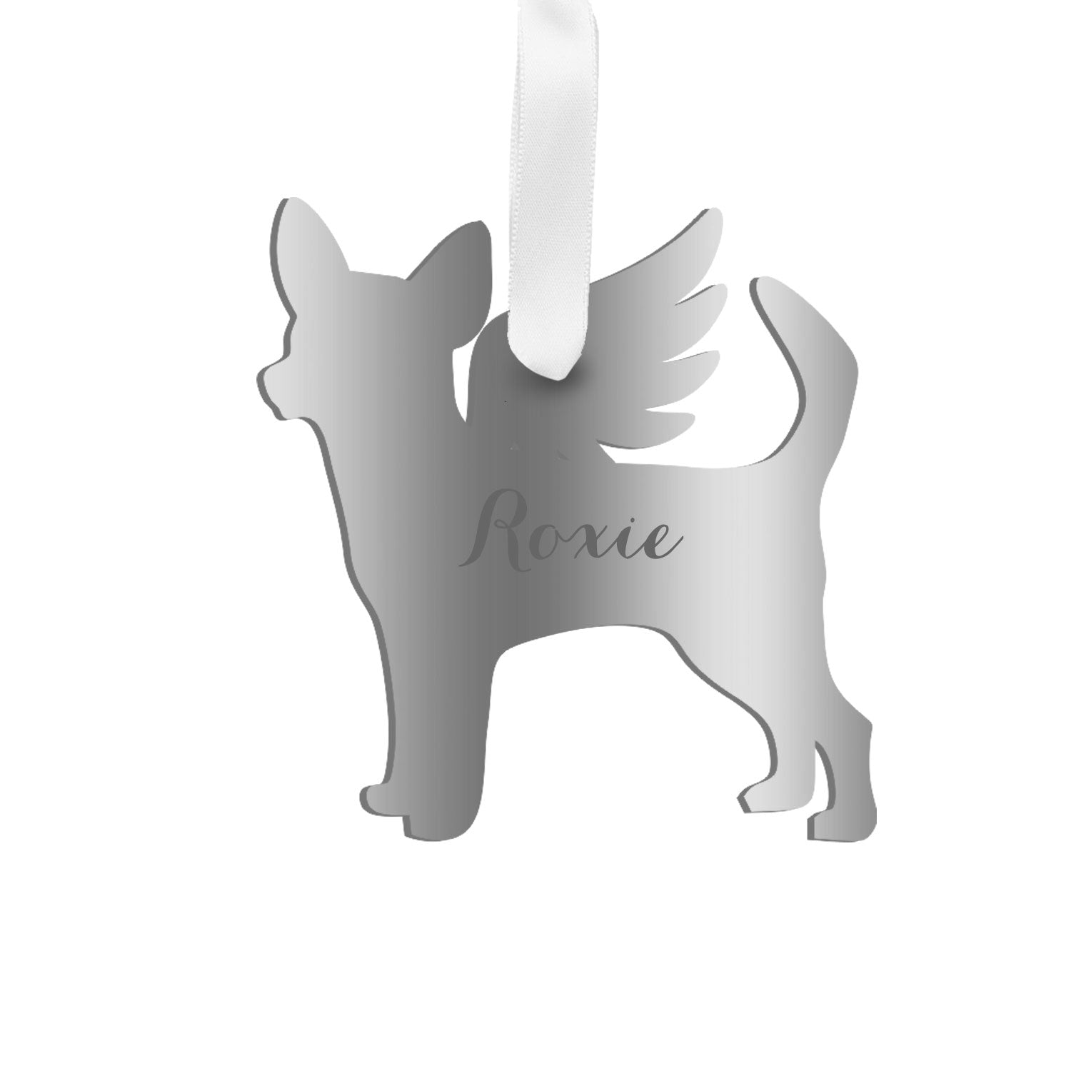 Moon and Lola - Personalized Angel Chihuahua Ornament with wings in mirrored  silver