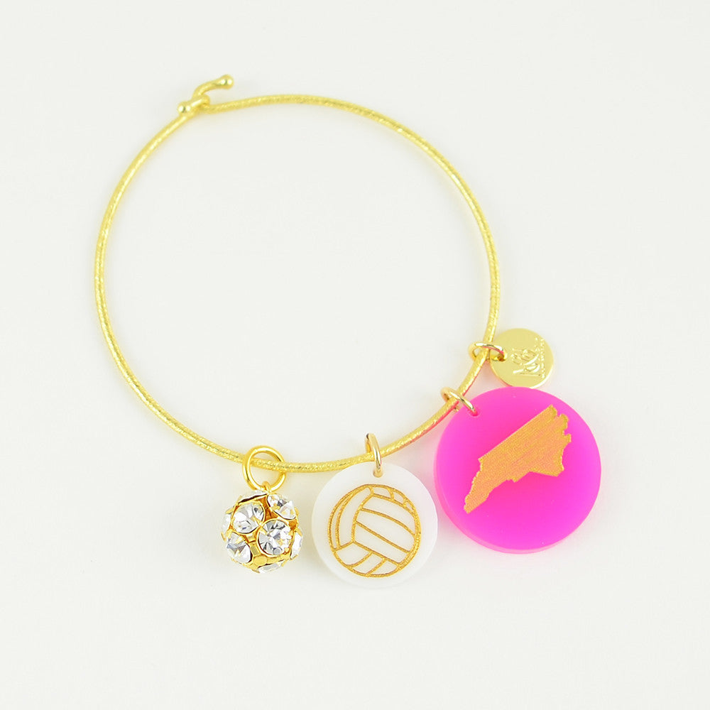 Moon and Lola - Colorful Acrylic Etched Volleyball Charm on Nora Charm Bracelet with State Charm and Rhinestone Ball Charm