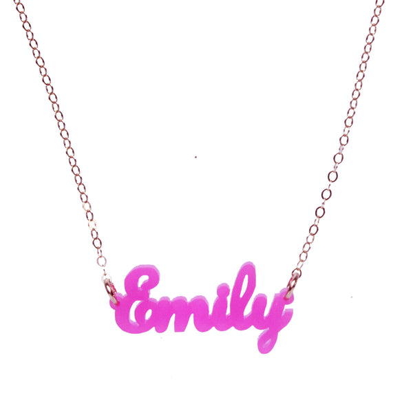 I found this at #moonandlola! - Acrylic Nameplate Necklaces E-F