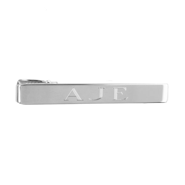 Moon and Lola - Engraved Tie Bar Silver