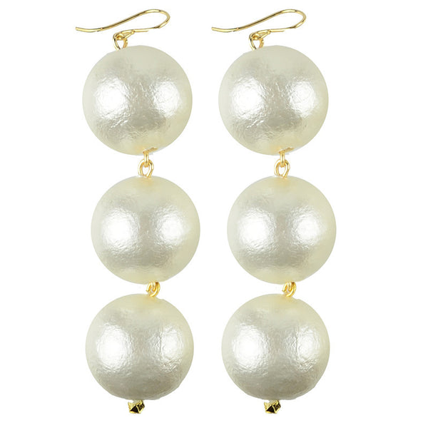Europa Cotton Pearl Earrings Large Gold Filled