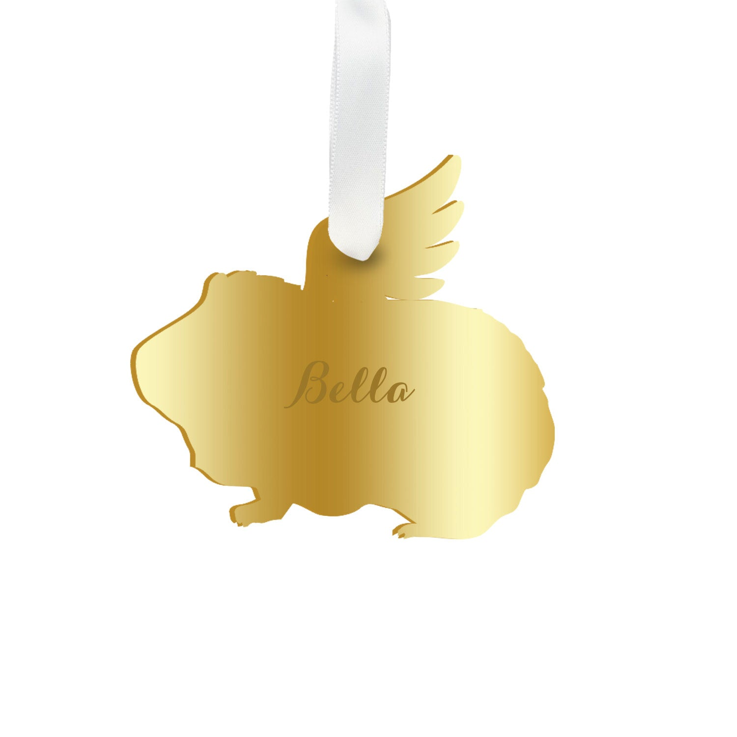 Moon and Lola - Personalized Angel Guinea Pig Ornament with wings in gold