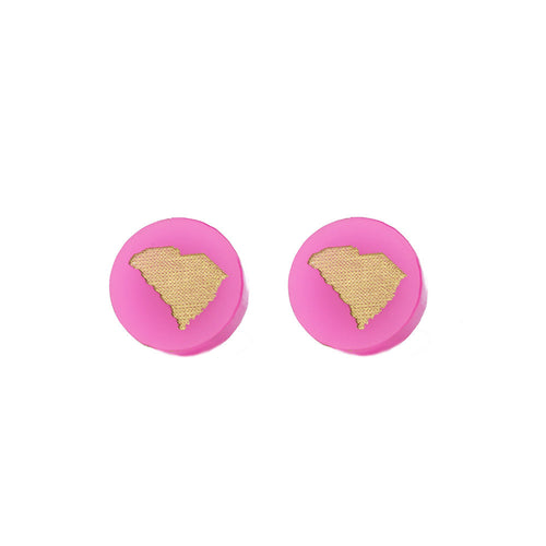 Moon and Lola - Hot Pink Acrylic Round South Carolina State Studs Hot Pink