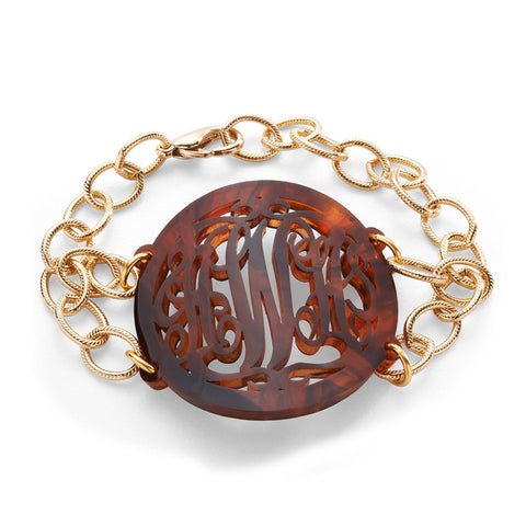 Nora Bangle Gold with Custom Cutout Acorn Charm in Tiger's Eye