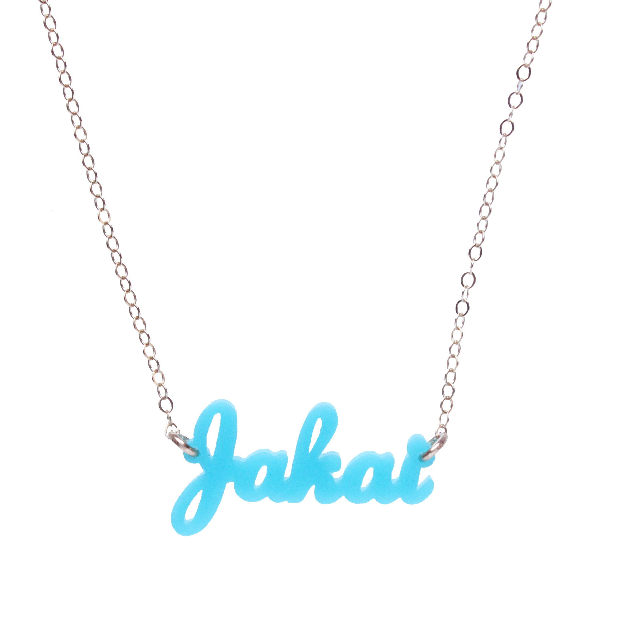 Moon and Lola - Acrylic Nameplate Necklaces I-J