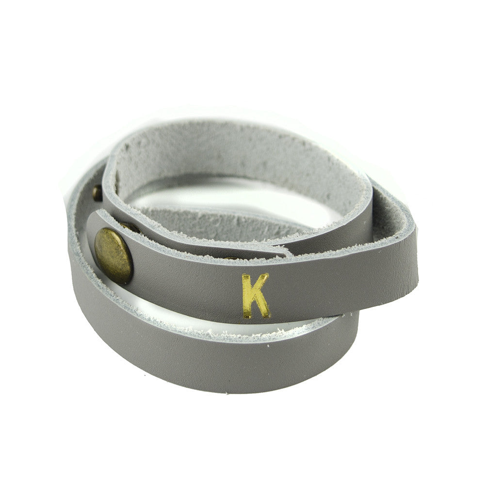 Moon and Lola - Kenly Gold Foil Wrap Bracelet Grey