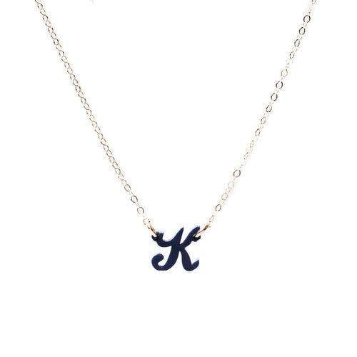 "I found this at #moonandlola! - Lauren Letter ""K"" Necklace Navy"