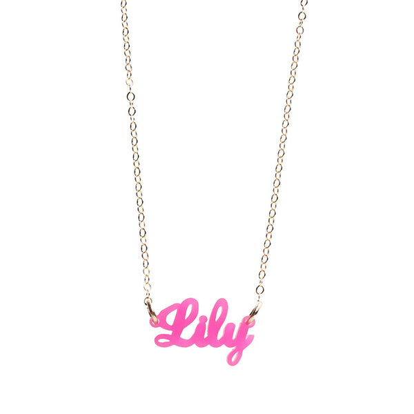Moon and Lola - Lauren Nameplate Necklace in Hot Pink