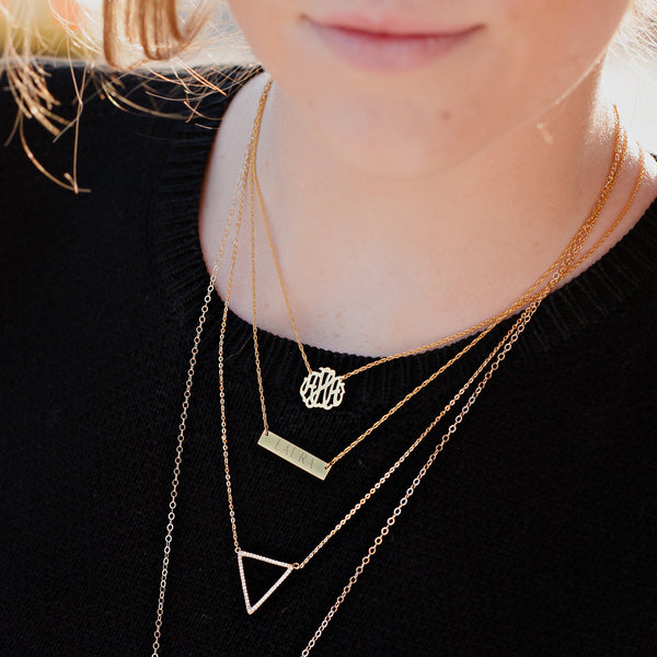 Moon and Lola - Engraved Bar Necklace on model