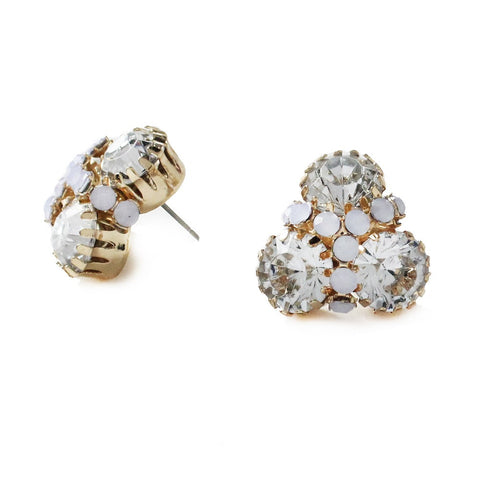 Moon and Lola - Londrina color 3 stone stud with round rhinestone detail crystal clear and frosted opal