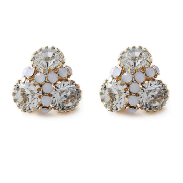 I found this at #moonandlola! - Londrina color 3 stone stud with round rhinestone detail crystal clear and frosted opal