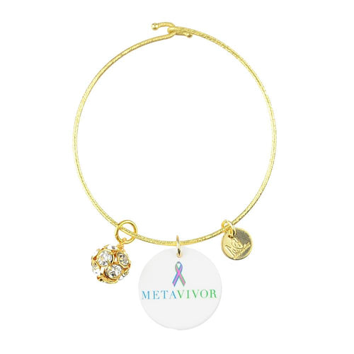 Moon and Lola - METAvivor Charm on Nora Bangle with Rhinestone Ball