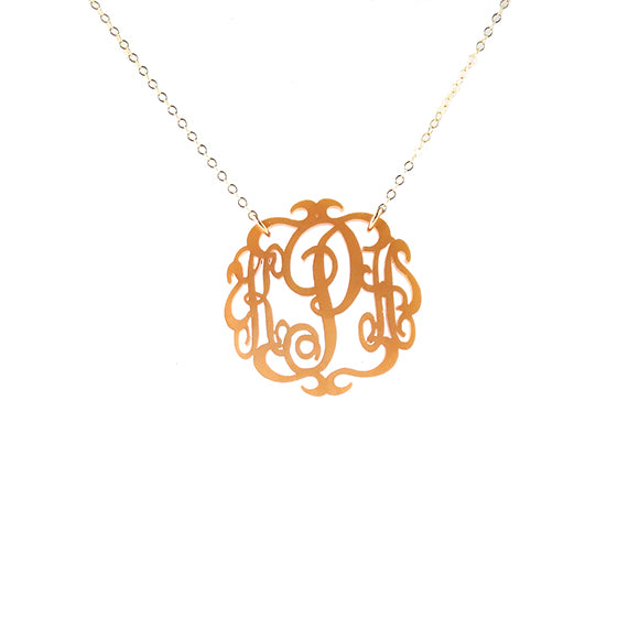 Moon and Lola - Antique Gold Paris Monogram Necklace
