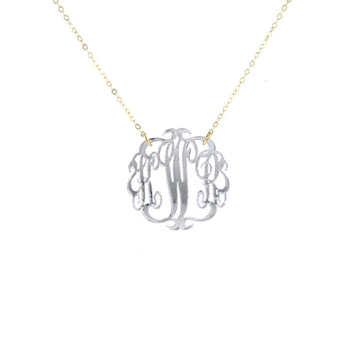 Moon and Lola - Mirrored Silver Paris Monogram Necklace