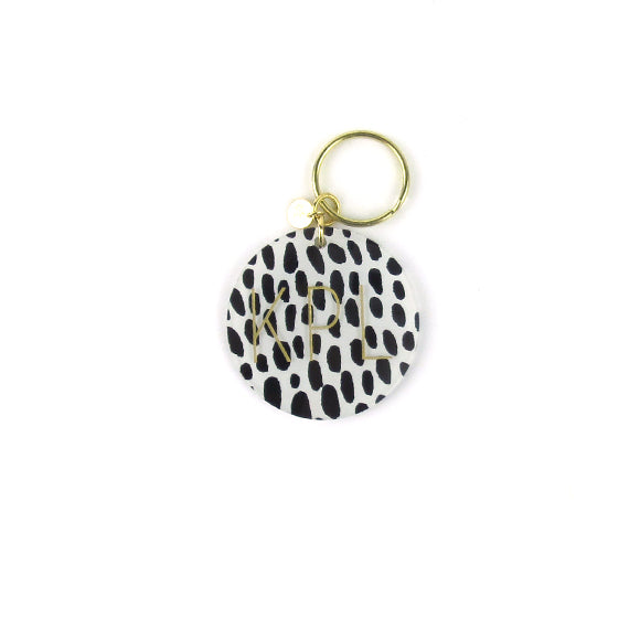Moon and Lola - Black and White Spots Patterned Block Keychain