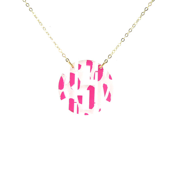 "Sample ""KSM"" Patterned Block Monogram Necklace"