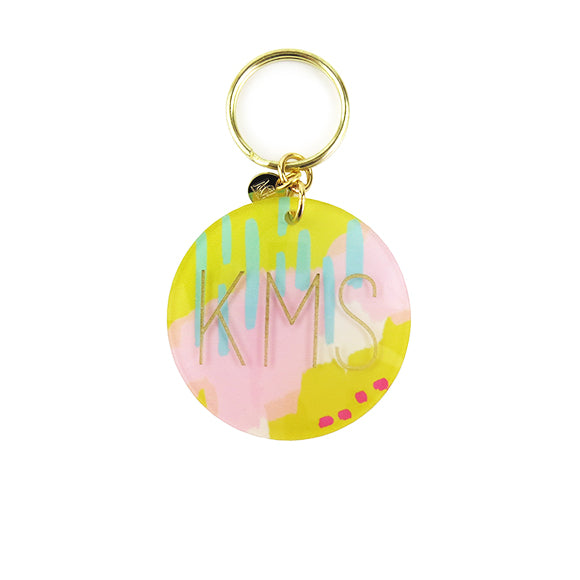 Moon and Lola - Pastel Abstract Patterned Block Keychain