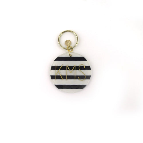 Moon and Lola - Black and White Stripes Patterned Block Keychain