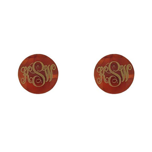 Moon and Lola - Providence Script Monogram Post Earrings
