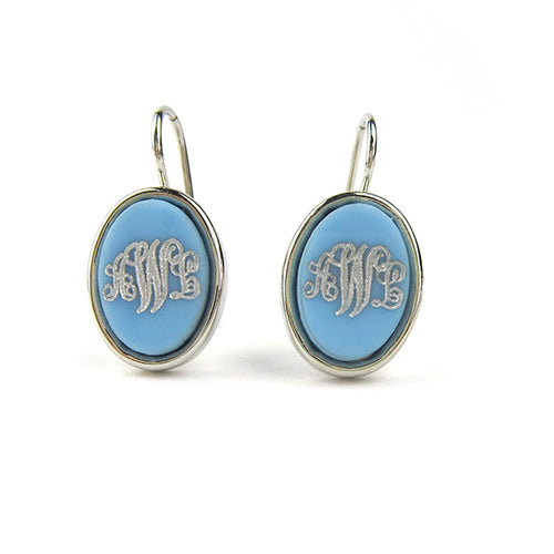 "Sample ""AWL"" Vineyard Oval Dangle Earring, Script"