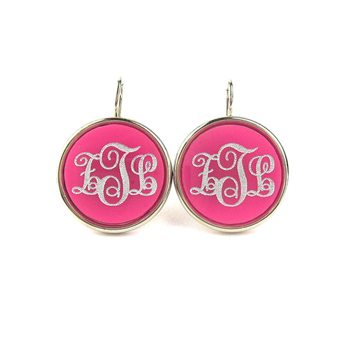 "Sample ""ZTL"" Vineyard Round Dangle Earring, Script"