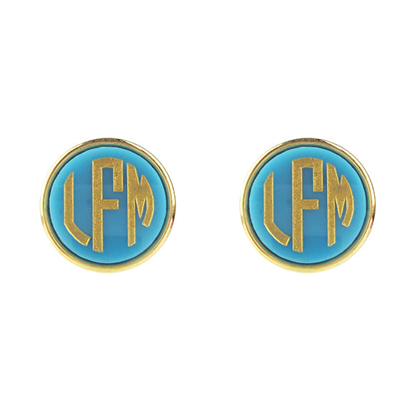 "Sample ""LFM"" Vineyard Round Post Earring, Block"
