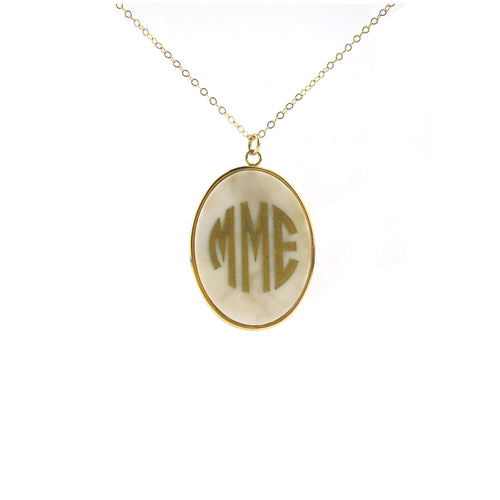 "Sample ""MME"" Vineyard Oval Monogram Necklace"