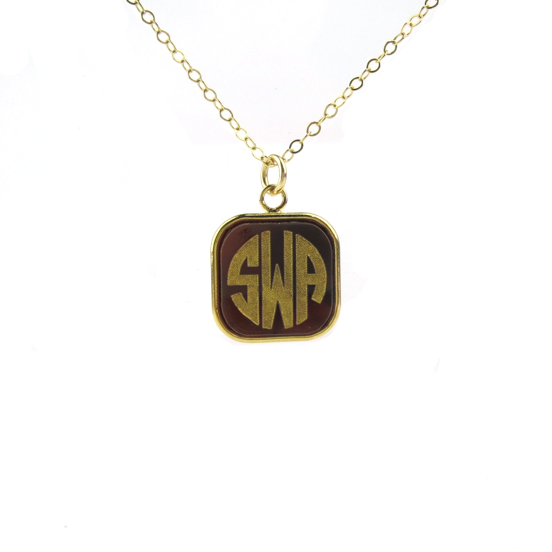 "Sample ""SWA"" Vineyard Square Monogram Necklace"