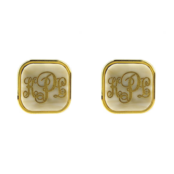"Sample ""KPL"" Vineyard Square Post Earring, Script"