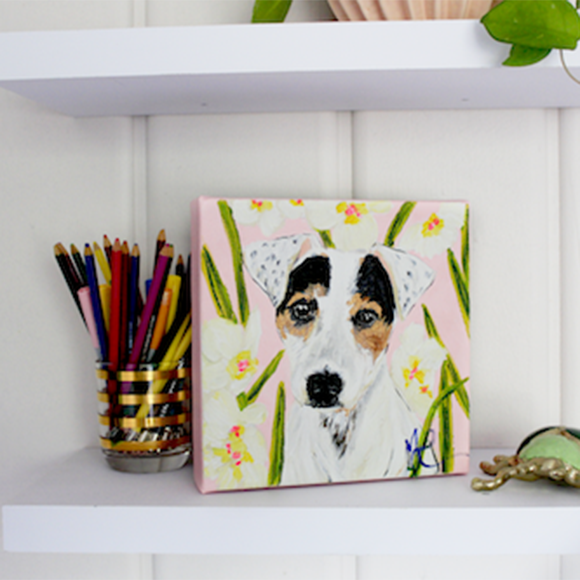 Moon and Lola - Birdie the Jack Russell dog original artwork styled on a shelf