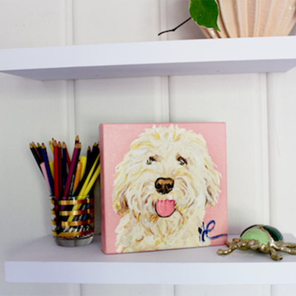 Moon and Lola - Dax the Golden Doodle original artwork styled on shelf