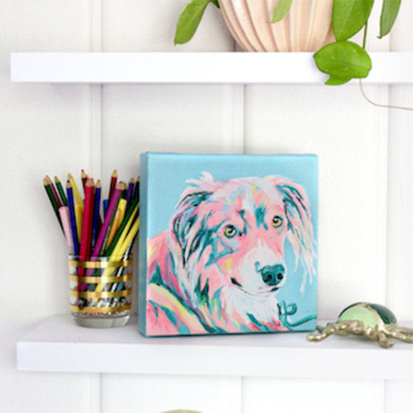Moon and Lola - Loki James the Australian Shepherd original artwork on a shelf