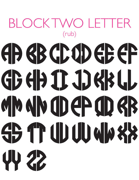 Moon and Lola - 2 Letter Block Rub Font Sheet