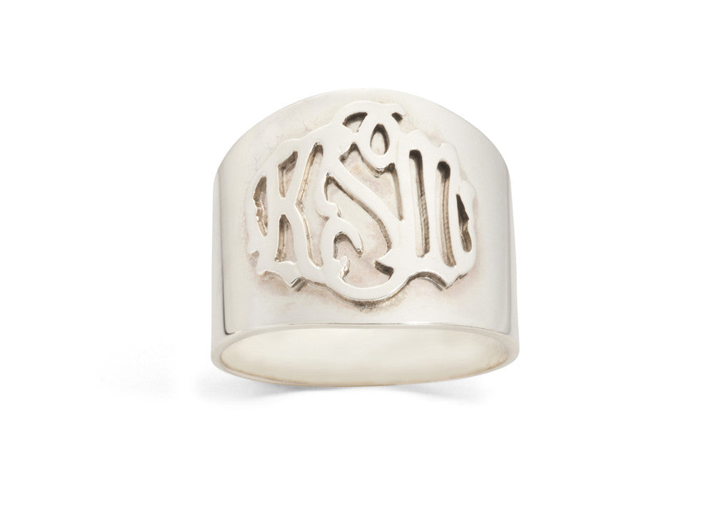 I found this at #moonandlola - Metal Monogram Cigar Band Ring Silver and Silver Overlay