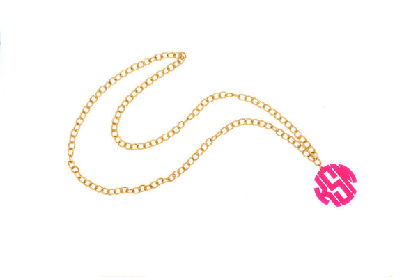 Moon and Lola - Acrylic Block Monogram on Gold Greenwich Chain