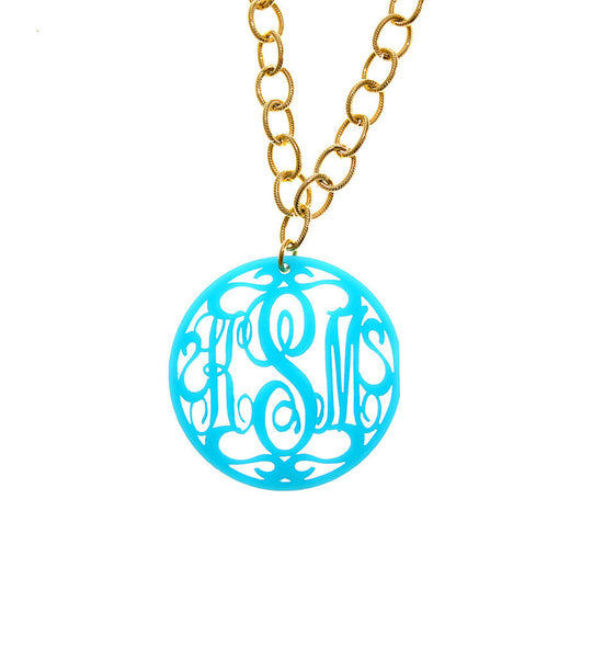acrylic rimmed script extra large monogram necklace on greenwich chain xl personalized variety silver gold plastic jewelry hand rubbed moon and lola design