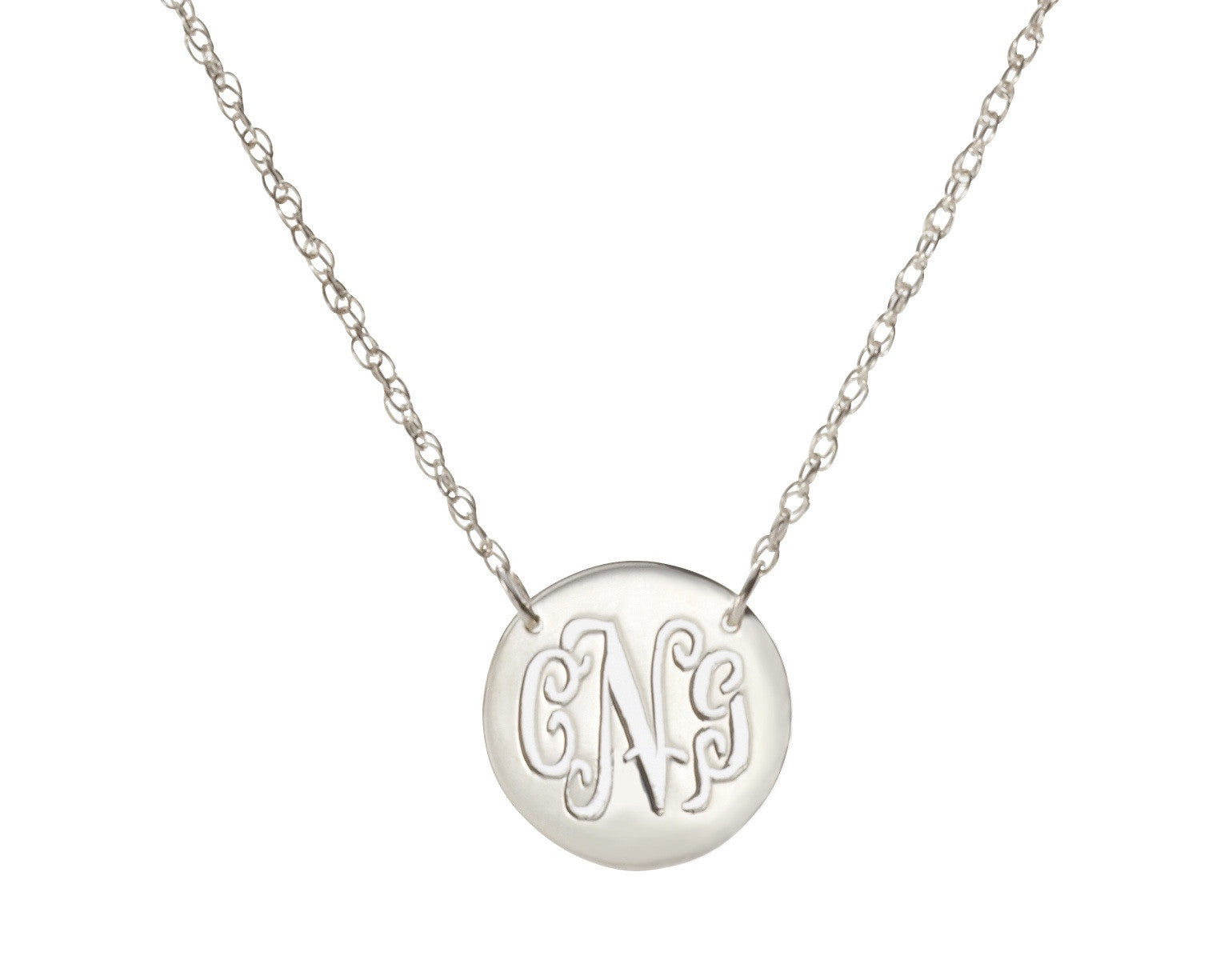 Moon and lola disc monogram necklace i found this at moonandlola metal disc necklace silver mozeypictures Choice Image