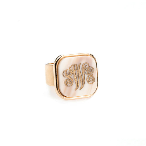 Moon and Lola - Vineyard Square Monogram Ring