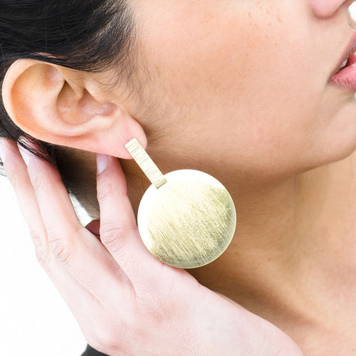 Moon and Lola - Maupiti Earrings brushed gold large circle drop posts