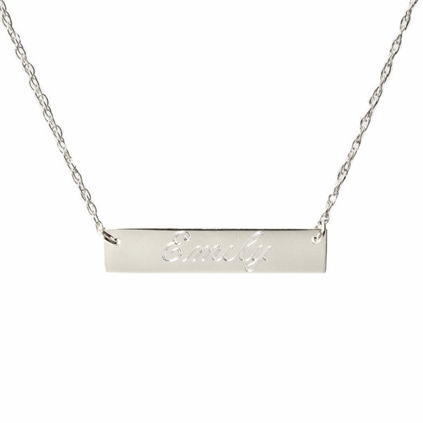 I found this at #moonandlola - Engraved Bar Necklace Script