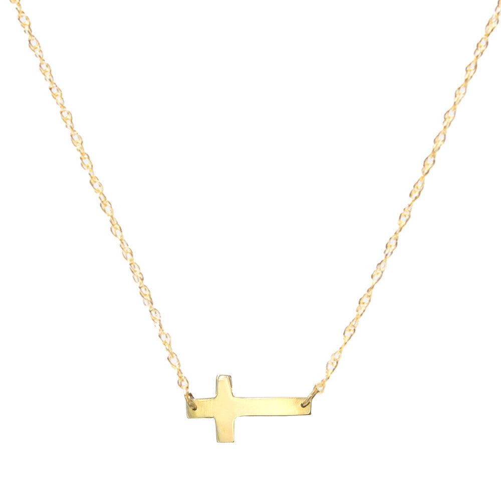 Moon & Lola Gold-Plate Integrated Cross Necklace PSKHE2Hjb
