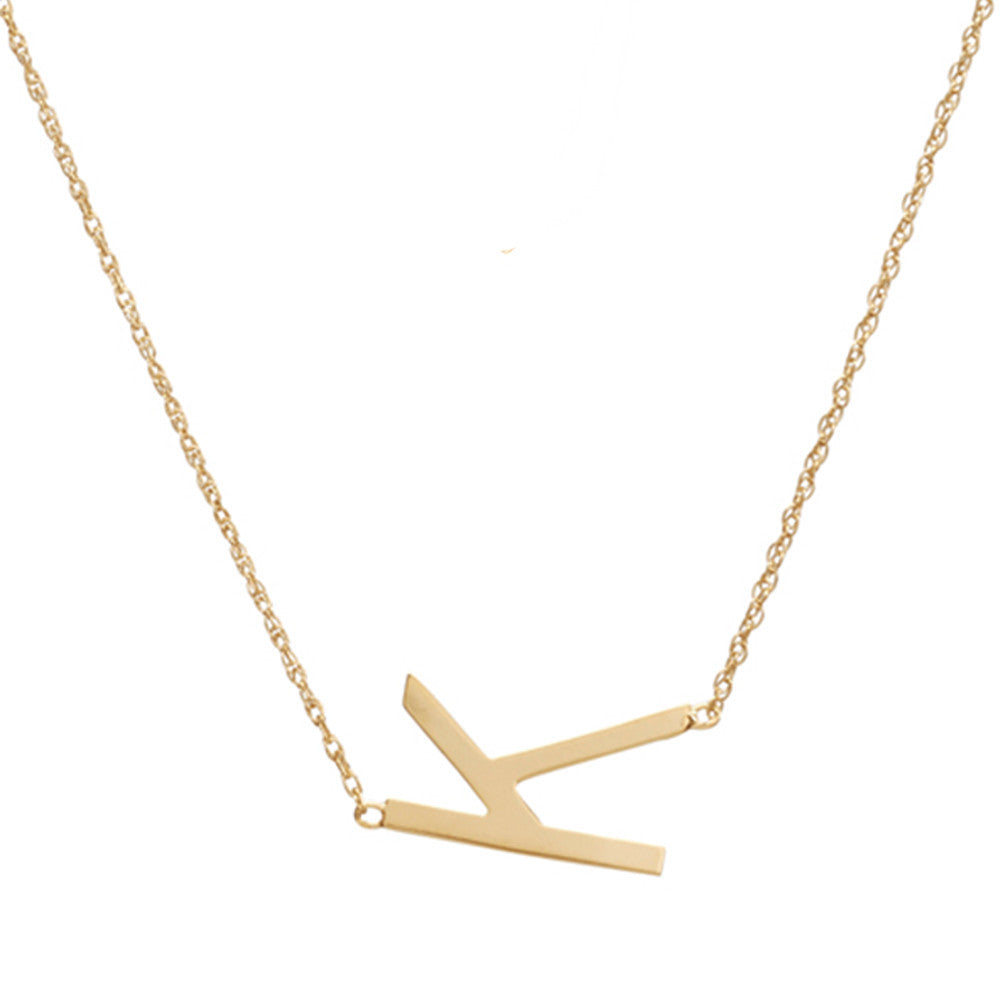 products necklace initial amarilo sideways a