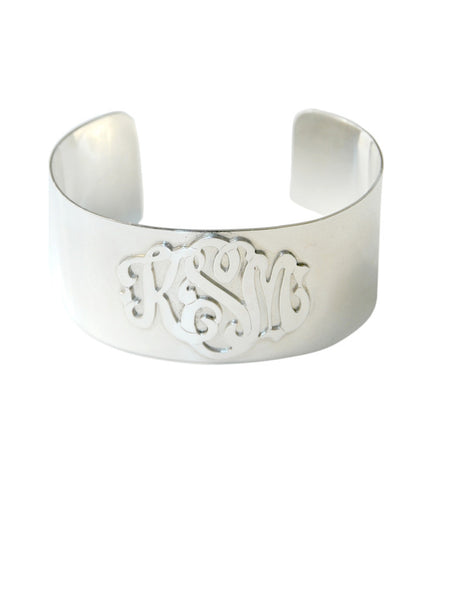 Moon and Lola - Metal Monogram Cuff Bracelet Silver