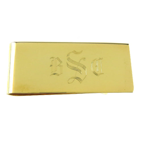 Moon and Lola - Engraved Money Clip Old English Font