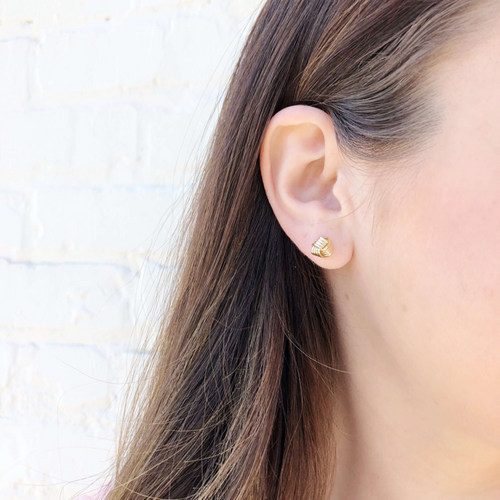 Moon and Lola - 14K Fina Knot Studs styled on model