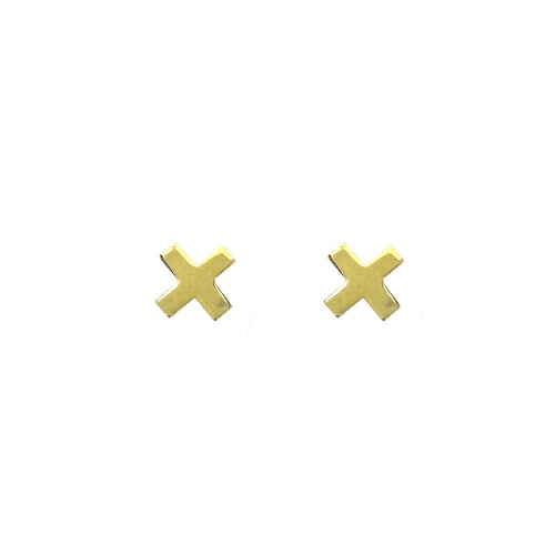 "Moon and Lola - Fina 14K Gold ""X"" Studs"