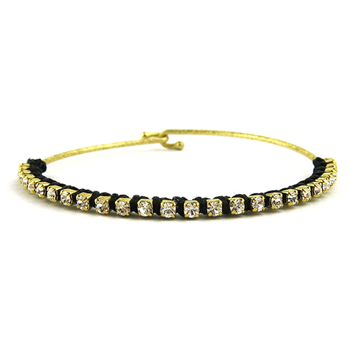 Moon and Lola - Aketa Bangle With Clear Crystals and Black Linen Thread